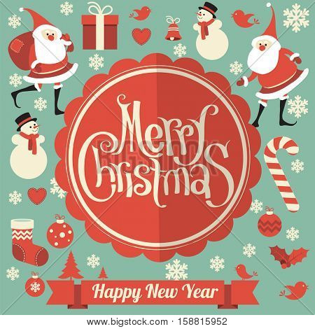 Christmas and New Year greeting card vector template with flat design Santa, showman and snowflake.