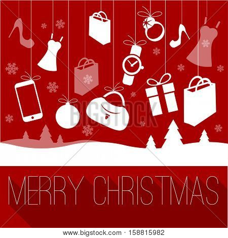 Christmas and New Year shopping greeting card vector template.