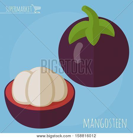 Flat design ripe exotic purple mangosteen vector icon