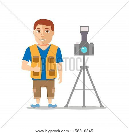 Cartoon Photographer Men Character isolated on white background. Vector illustration