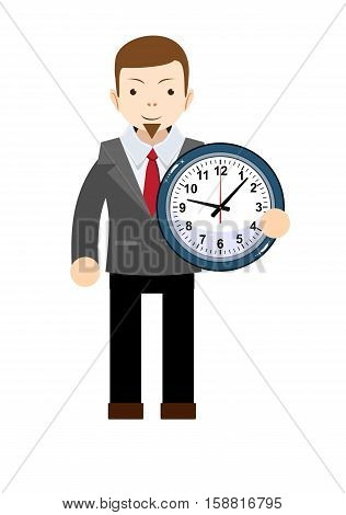 funny cartoon office worker with clock. Stock vector illustration