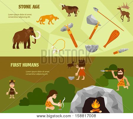 History flat horizontal banners with ancient weapon animals tribe caveman cave and bonfire vector illustration