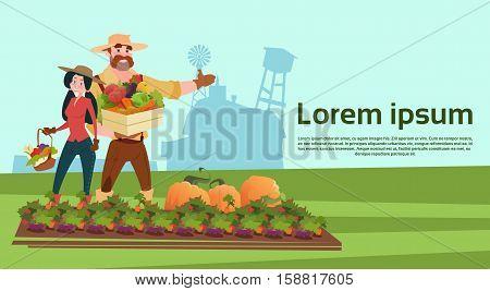 Farmers Family Growing Vegetables Farmland Countryside Landscape Flat Vector Illustration
