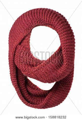 Scarf Isolated On White Background.scarf  Top View . Crimson Scarf