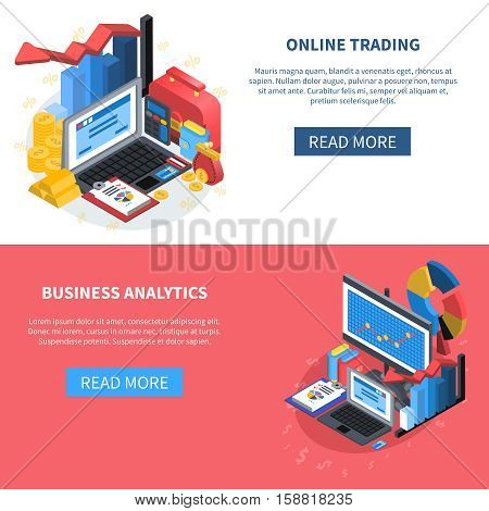 Online trading and business analytics isometric banners with read more button diagrams money office books computer symbols vector illustration