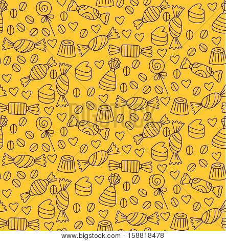 Cute bonbon candy sweet background texture confectionery seamless vector pattern