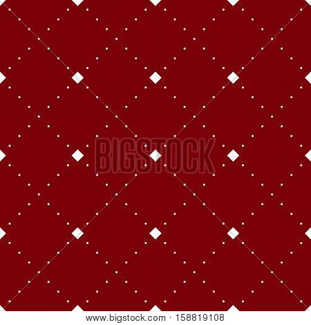 Vector seamless geometric pattern. Abstract red background with white dotted lines