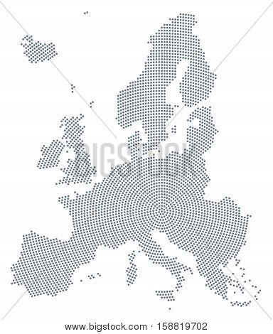 Europe map radial dot pattern. Gray dots going from the center outwards and form the silhouette of the European Union area. Illustration on white background. Vector.