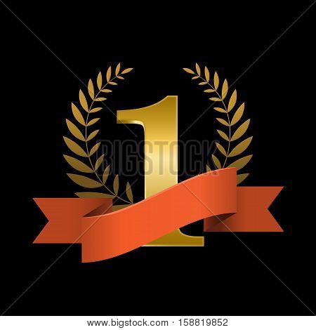 Number one with ribbon and laurel wreath on black background. Red ribbon award for winner. Vector illustration