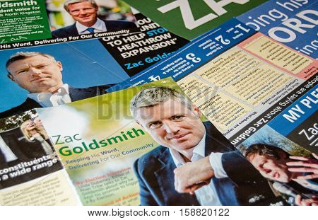 RICHMOND-UPON-THAMES UK - NOVEMBER 28 2016: leaflets promoting the Independent candidate Zac Goldsmith in the Richmond Park by-election due to be held on December 1st 2016. Goldsmith resigned as a Conservative MP in protest at the expansion of Heathrow Ai