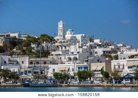MILOS, GREECE - SEP 26, 2016: Views of the Marina from the sea. The island is famous for the statue of Aphrodite (Venus de Milo, now in the Louvre) Land area of island is 160.147 square kilometres.