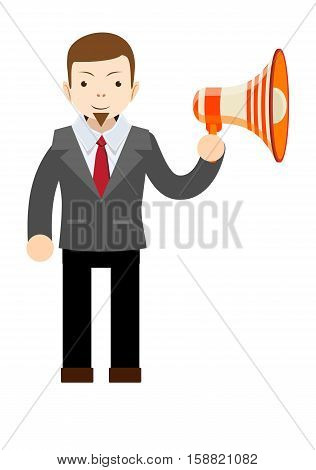 Abstract Businessman with a loudspeaker Megaphone. Vector illustration