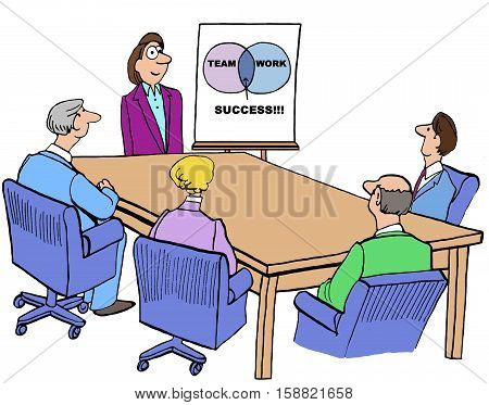 Color business illustration of a businesswoman conveying to meeting attendees that 'team' plus 'work' yields 'success'.