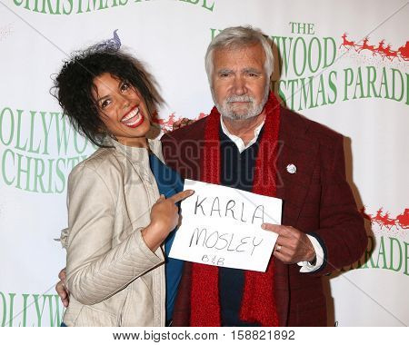 LOS ANGELES - NOV 27:  Karla Mosley, John McCook at the 85th Annual Hollywood Christmas Parade at Hollywood Boulevard on November 27, 2016 in Los Angeles, CA