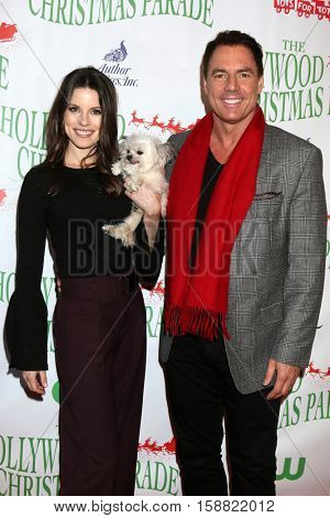 LOS ANGELES - NOV 27:  Julie Freyermuth, Norbert, Mark Steines at the 85th Annual Hollywood Christmas Parade at Hollywood Boulevard on November 27, 2016 in Los Angeles, CA