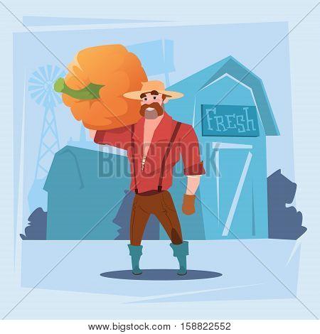 Farmer Man Gather Pumpkin Harvest SIlhouette Farm Background Flat Vector Illustration