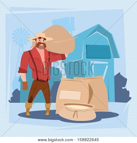 Farmer Man Hold Wheat Sack Harvest Silhouette Farm Background Flat Vector Illustration