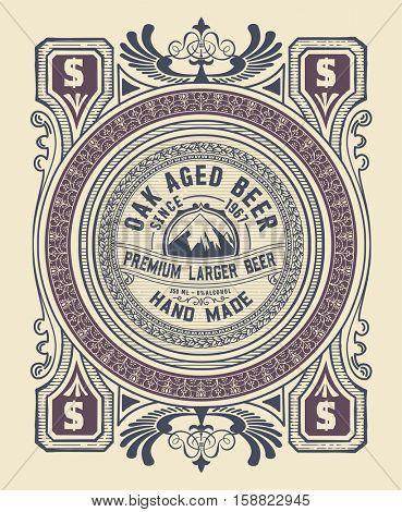 Vintage label design for beer and Wine label