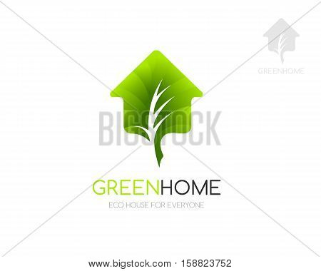 Green home logo template. Concept for eco friendly house or synergy buildings