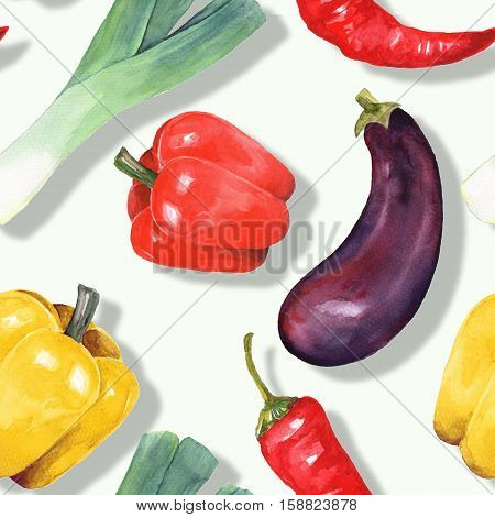 Watercolor vegetables. Hand drawn seamless pattern 13
