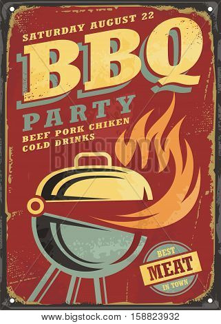 BBQ party retro sign design layout on old rusty metal