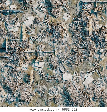 background  of the bird eye view  of the destroyed city land. 3d rendering