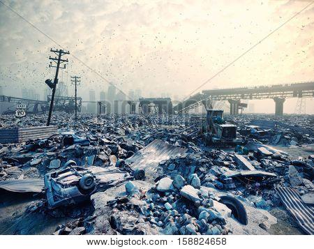 Ruins of a city. Disaster landscape.3d illustration concept