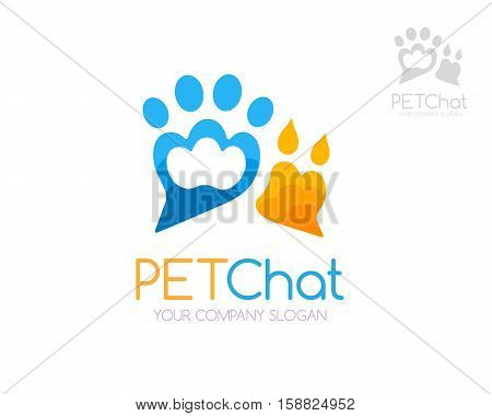 Pet chat logo template. Domestic and wild pets paw symbol. Icon for veterinary care center pet shop zoo or other friendly animal chats forums and social sites.