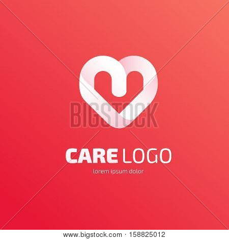 Illustration design of heart logotype flat simple colorful