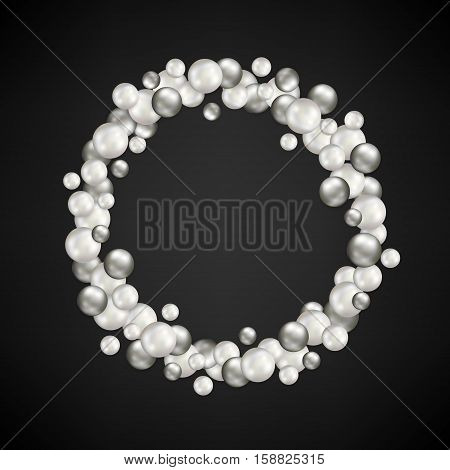 Christmas background with wreath from black and white balls on black backdrop and copy space for your wishes