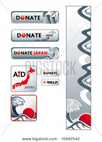 Japan donation banners and buttons to help country revive