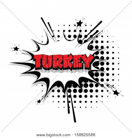 Lettering Turkey Comic text sound effects pop art vector Sound bubble speech phrase cartoon text cartoon balloon expression sounds illustration Comic text background template. Comics book balloon
