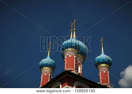 Blue Domes of the Church of St. Demetrios on the Blood on the banks of the Volga river (Uglich Russia)