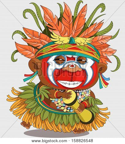 The comic caricature. Funny African Papuan. Cartoon. Vector. Travesty cartoon. Characters. Isolated objects