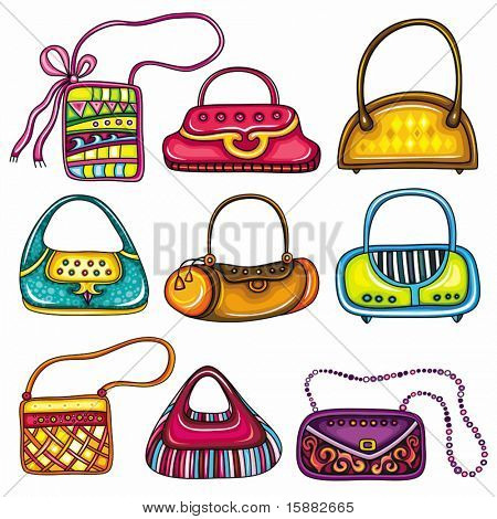 A set of beautifully designed colorful purses. Cute different shapes and prints. Totes, handbags, bucket bag, hobos, clutches, satchel, shoulder bags, chain handle bags.