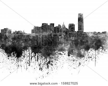 Oklahoma City skyline in black watercolor on white background