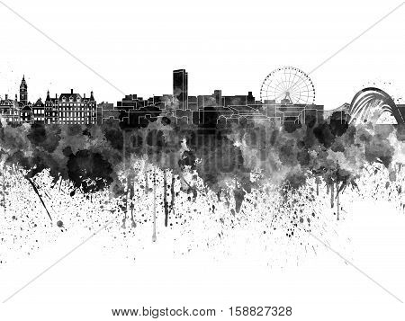 Sheffield skyline in black watercolor on white background