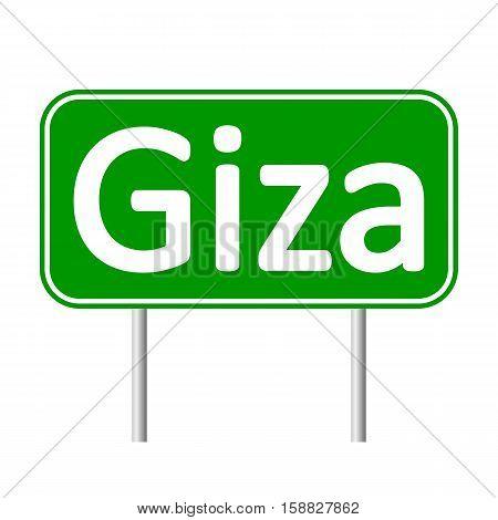 Giza road sign isolated on white background.