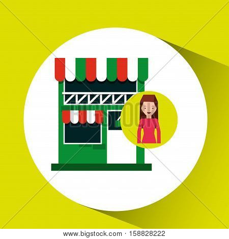 lady shopping bags gift grocery store vector illustration eps 10