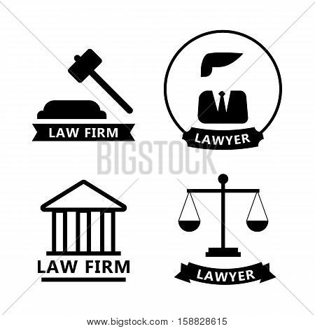 Law and justice thin line vector logo set