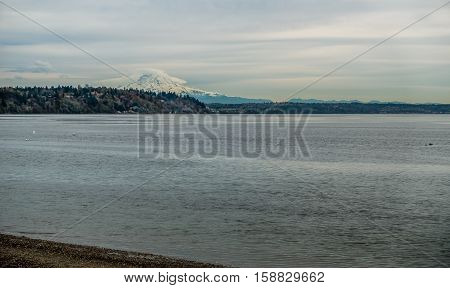 A view of Mount Rainier on an overcast day.