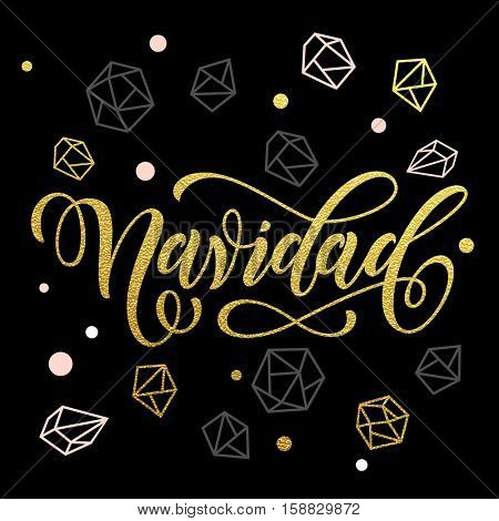 Spanish Christmas holiday greeting Feliz Navidad decoration. Ornaments and decorations of gold for Christmas holiday in Spain. Merry Christmas calligraphy with modern background for greeting card