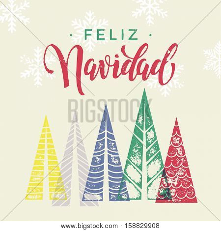 Winter forest background with Christmas trees for italian greeting card. Feliz Navidad spanish Merry Christmas greeting card text with pine tree forest in geometric shape
