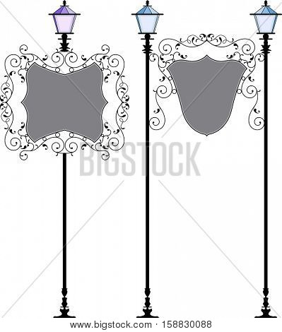 Wrought Iron Signage With Lamp, Lantern Vector Illustration