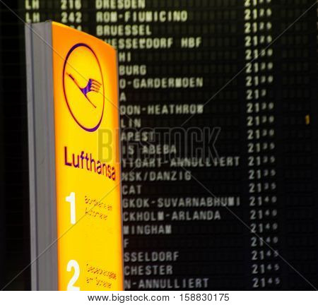 Frankfurt am Main, Hessen, Germany - November 29, 2016: Flight information board displaying cancelled Lufthansa flights due to strike by pilots in Frankfurt am Main airport