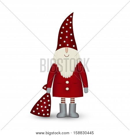 Nisse Santa Claus scandinavian folk style, nordic Christmas motive in red coat with bag of gifts isolated on white background, vector illustration