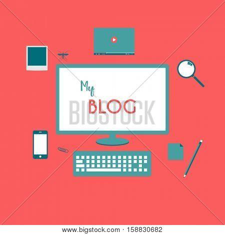 Flat Style Blog Illustration