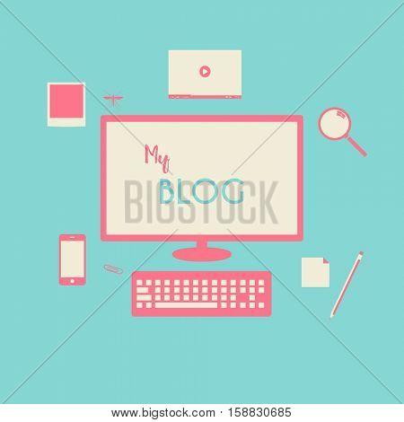 Pink and blue blog illustration background
