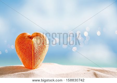 red heart sea shell with ocean , beach and seascape, shallow dof