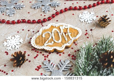 gingerbread on background of christmas toys 2017.